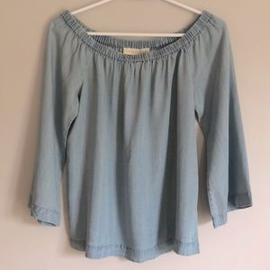 LOVE STITCH Off Shoulder Denim Chambray Top sz M